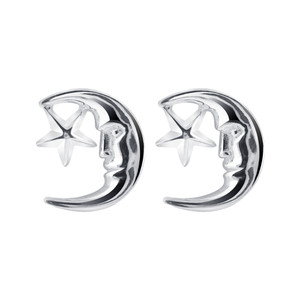 925 Sterling Silver Moon and Star Post back Stud Earrings