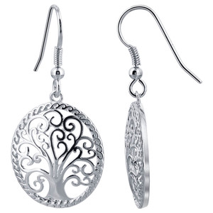 925 Sterling Silver Whimsic Tree of Life French Wire Drop Earrings