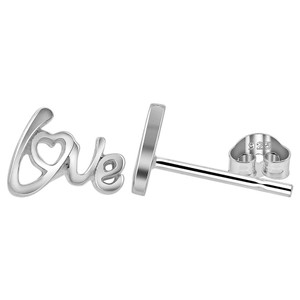 925 Sterling Silver Love Heart Post back Stud Earrings
