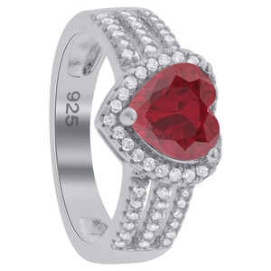 Ruby Heart Cubic Zirconia Ring