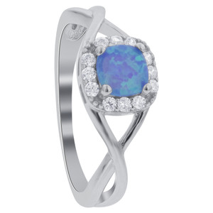 925 Sterling Silver Square Created Blue Opal and Cubic Zirconia Solitaire with Accents Ring