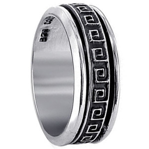 Men's 925 Silver 8mm Square Maze Spinning Band