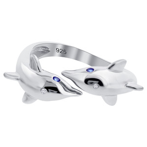 925 Sterling Silver Blue Cubic Zirconia Twin Dolphin Ring