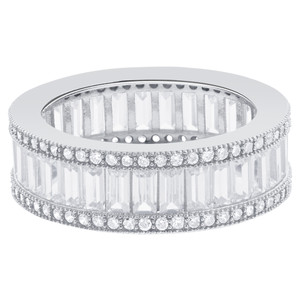 925 Silver Emerald-Cut Cubic Zirconia Eternity Band