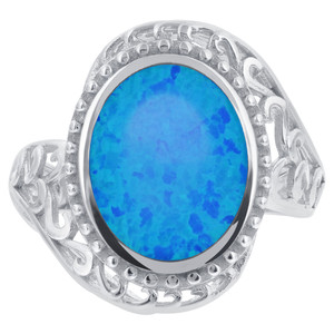 Blue Opal Swirl Design Ring