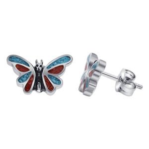 Turquoise Coral Gemstone Butterfly Stud Earrings