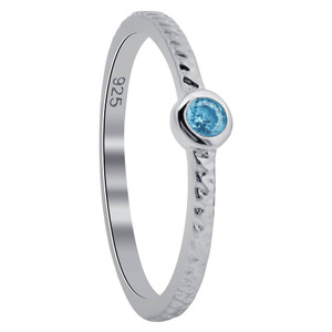 Aqua Blue Cubic Zirconia Ring