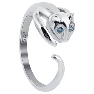 Aqua Blue CZ Cat Ring