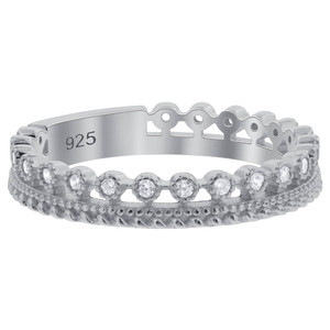 Sterling Silver Cubic Zirconia Band