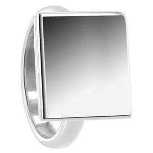925 Sterling Silver Engravable 13mm Square Ring