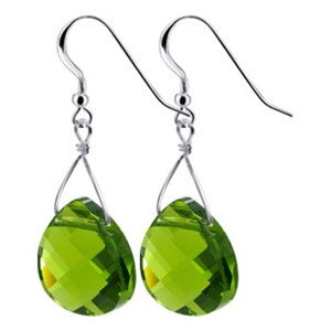 925 Sterling Silver Made with Swarovski Elements Olivine Crystal Handmade Drop Earrings
