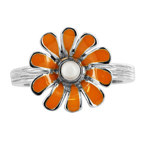 925 Silver Daisy Flower with Enamel Texture finish Ring