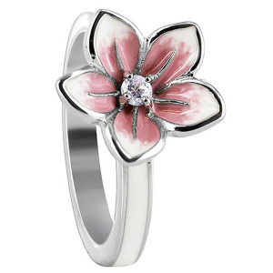 925 Sterling Silver Flower with Clear Cubic Zirconia White and Pink Enamel Ring