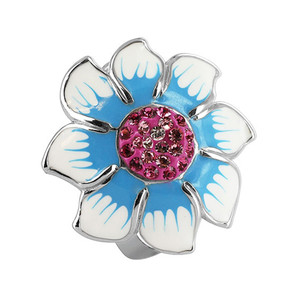 925 Silver Flower with Clear and Rose CZ Enamel Ring