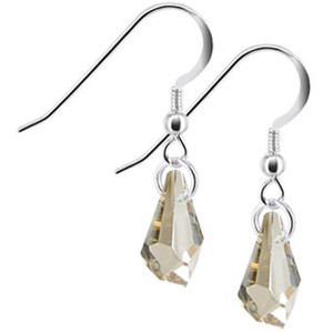 Polygon Topaz Color Swarovski Elements Crystal Handmade Drop Earrings