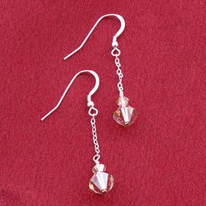 Golden Swarovski Crystal Dangle 925 Silver Earrings