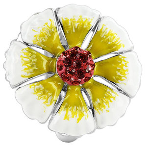 925 Sterling Silver Flower with Cubic Zirconia White and Yellow Enamel Ring