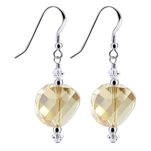 Sterling Silver Golden Shadow and Clear Crystal Handmade Drop Earrings