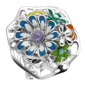 925 Sterling Silver 23mm Flower Bouquet Multi Enamel Ring