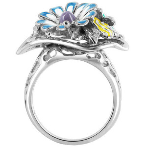 925 Silver 23mm Flower Bouquet Multi Enamel Ring