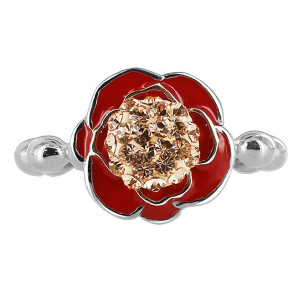 925 Silver Red Enamel with Gold Quartz Stones Ring