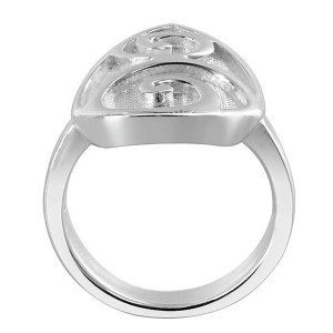 925 Silver Pear Shape with Swirled Design 3mm Ring