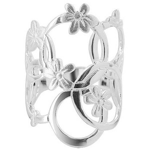 925 Sterling Silver Multi Circle and Flower Design 4mm Ring
