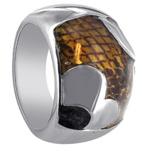 925 Sterling Silver Enamel Inlay Ring