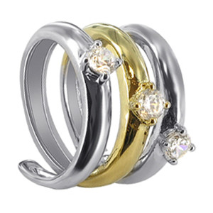 925 Sterling Silver Cubic Zirconia 2 tone Spiral Ring