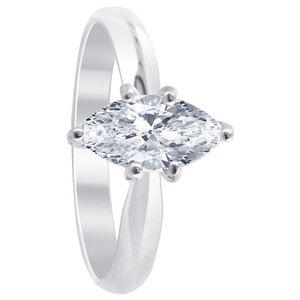 925 Sterling Silver Clear Cubic Zirconia Marquise Cut 3mm Solitaire Ring