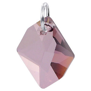 Sterling Silver Pink Crystal Charm Pendant