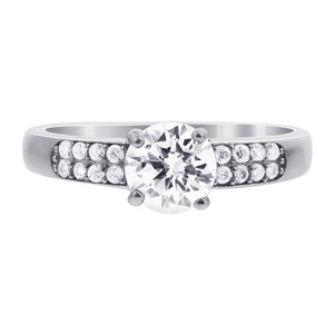 925 Silver CZ Solitaire with Accents Ring