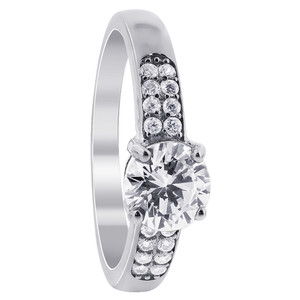 925 Sterling Silver Cubic Zirconia Solitaire with Accents Ring