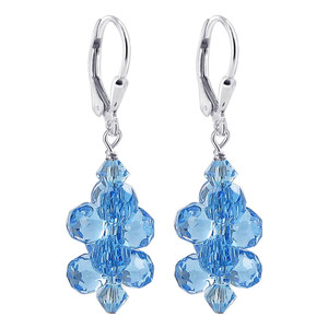 Aquamarine Swarovski Crystal 925 Silver Drop Earrings