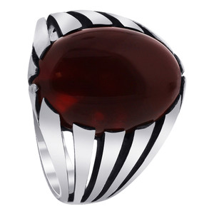 925 Sterling Silver Oval Simulated Carnelian Solitaire Ring