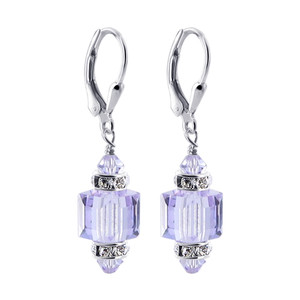 Lavender Swarovski Crystal Drop Earrings