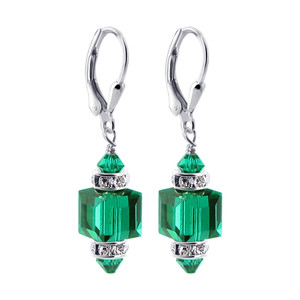 Emerald Cube Swarovski Crystal Drop Earrings