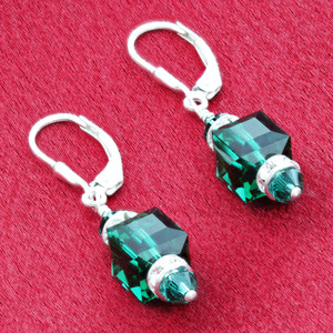 Emerald Swarovski Crystal Cube 925 Silver Drop Earrings