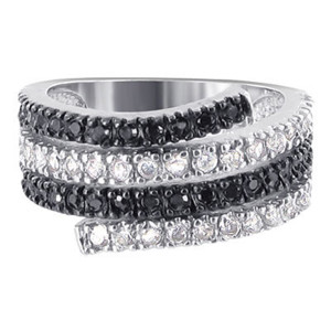 925 Silver Clear and Black Cubic Zirconia Journey Ring