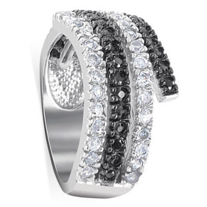 925 Sterling Silver Clear and Black Cubic Zirconia Journey Ring