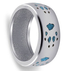 Men's Turquoise 925 Silver Southwestern Style 9mm Band