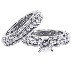 925 Silver CZ Engagement Ring Wedding Band Set