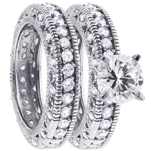 925 Sterling Silver Cubic Zirconia Engagement Ring Wedding Band Set