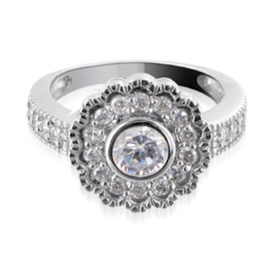 925 Silver Round Cubic Zirconia with Accents Ring