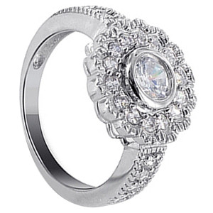 925 Sterling Silver Round Cubic Zirconia with Accents Ring