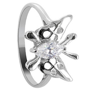 925 Sterling Silver Cubic Zirconia Butterfly Design Solitaire Ring
