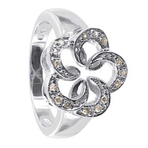 Rhodium Plated 925 Sterling Silver Cubic Zirconia Flower Ring