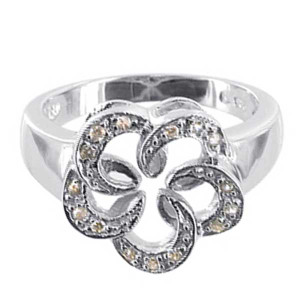 Rhodium Plated 925 Silver Cubic Zirconia Flower Ring