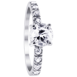 925 Silver CZ Engagement Ring Wedding Band Set # DSRS045