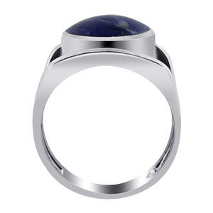 925 Silver Blue Lapis Lazuli Gemstone 5mm Solitaire Ring